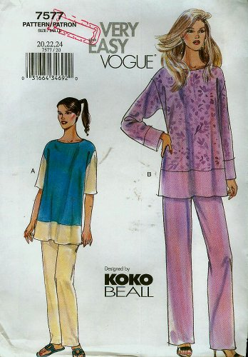 Very Easy Vogue Koko Beall Pattern 7577 Misses' Petite Top & Pants, Size 20-22-24 (Bust 42-46)