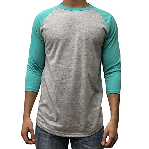 KANGORA Men's Plain Raglan Baseball Tee T-Shirt Unisex 3/4 Sleeve Casual Athletic Performance Jersey Shirt (24+ Colors) (Gray Turquoise, Medium) -