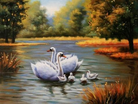 'Decoration Painting Of White Swans In The Lake' Oil Painting, 12x16 Inch / 30x41 Cm ,printed On High Quality Polyster Canvas ,this High Definition Art Decorative Canvas Prints Is Perfectly Suitalbe For Home Theater Decoration And Home Artwork And Gifts (Swan Topiary)