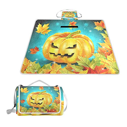 FunnyCustom Picnic Blanket Halloween Pumpkin and Autumn Leaves Outdoor Blanket Portable Moisture Proof Picnic Mat for Beach Camping -