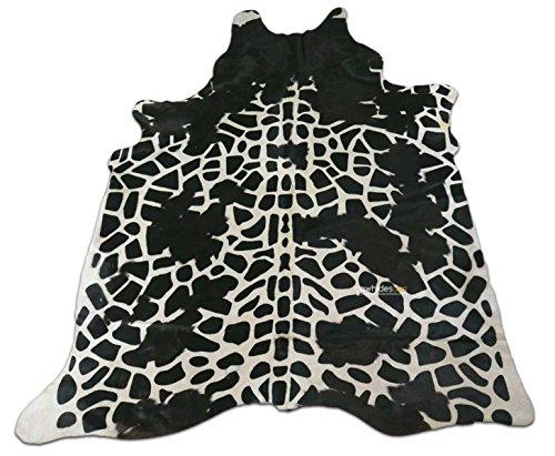 Giraffe Cowhide Print Rug: 7.5' X 6 'ft Black and White Print Cow Hide Rug i-865 ()