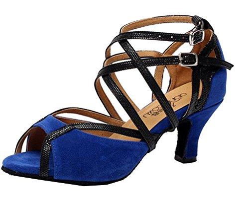 Chacha Jj Salsa 1 CFP 6 Femme 6 Personnalisées Bleu Latin de Piste 6132 Tissu nbsp;Pour nbsp;CM Danse de nbsp;CM Talon Bleu 8 Tango Chaussures de Danse Y07d0