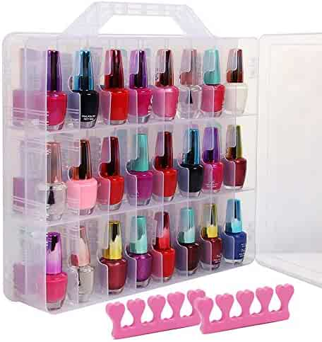Weiyi Clear Nail Polish Organizer Case Stores 48 Bottles Holder Double Side with Adjustable Compartments and 2 Toe Separators
