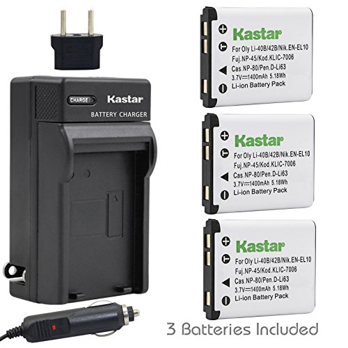 Kastar Battery (3-Pack) and Charger Kit for Fujifilm NP-4...