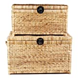 Three Hands Hyacinth Storage Chests, Set of 2