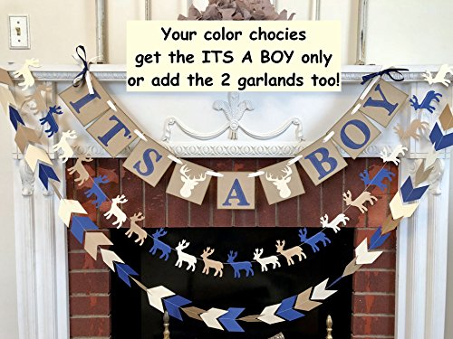 Little Buck Baby Shower Decorations - Navy Oh Deer Baby Shower - It's a Boy banner- Woodland Deer baby shower - Little Buck Banner
