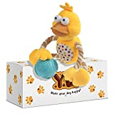 Y.D. Plush dog toys - Squeaky duck toy for small to medium dogs - Yellow duckie with ball