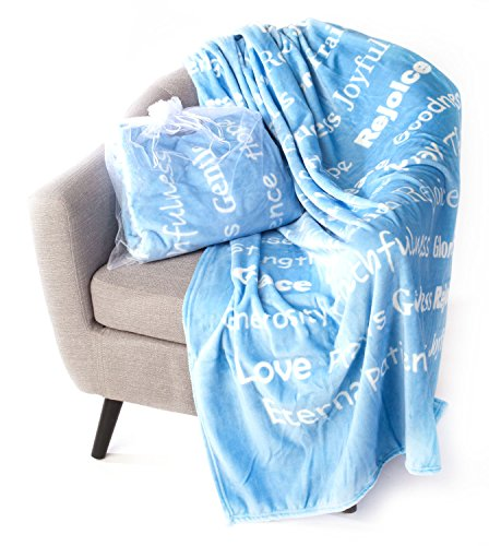 BlankieGram Faith Throw Blanket with Inspirational Thoughts and Prayers (Blue)