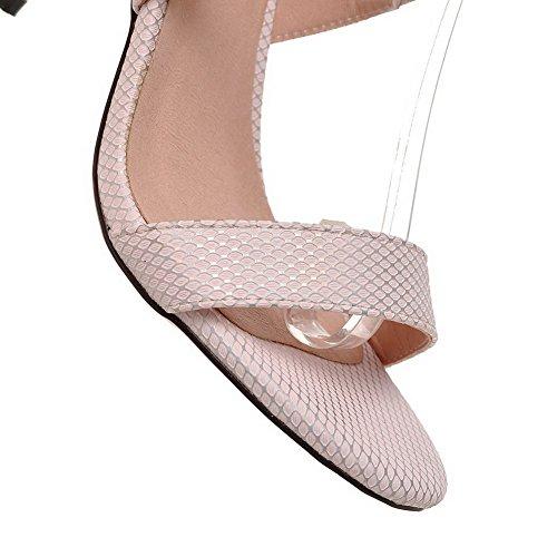 Allhqfashion Dames Lace Up Spikes Stilettos Pu Effen Open Teen Sandalen Roze