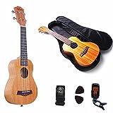#1: Ukulele Concert Ukulele Soprano Mahogany Aquila strings - Beginner Kit: Straps + Bag+ Picks+Tuner (21inch)