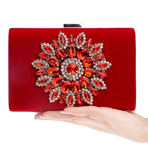 Satin KYS Wedding Event Bag with Women Rhinestone Handbag Party Beading for Bags Evening Crystal Evening Clutch red rERWFvEq