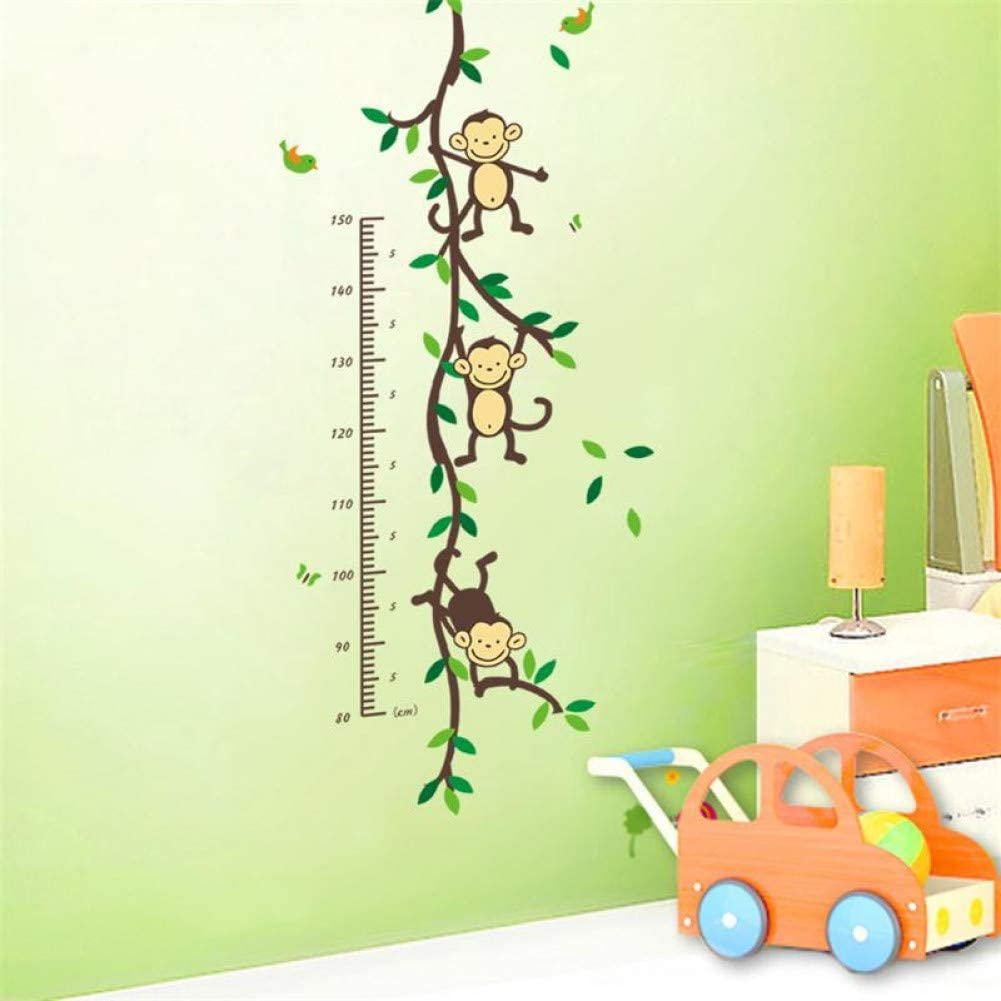 Wall Sticker/% Cartoon Animal Monkey Home Wall Sticker Baby Child Height Measure Growth Chart for Kids Room Nursery Decals