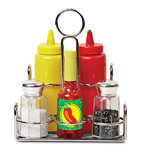 Melissa & Doug Condiments Set (6 pcs) - Play Food, Stainless Steel Caddy from Melissa & Doug