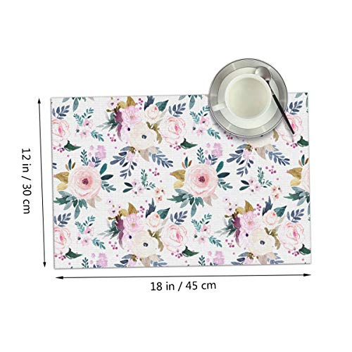 Coolfun Harper Floral Themed Print Pattern 4 Piece Set of Placemats Pc Party Kitchen Dining Room Home Table Place Mat Patio Holidays Decorations Decor Ornament