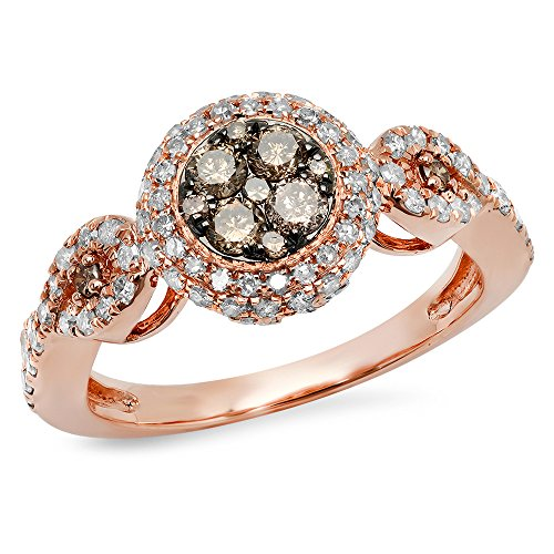 Rose Gold Champagne & White Diamond Swirl Cluster Engagement Ring 1 CT (Size 5.5) (14k Natural Champagne Diamond Ring)