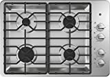 Appliances : GE JGP3030SLSS 30 Inch Natural Gas Sealed Burner Style Cooktop with 4 Burners, ADA Compliant, in Stainless Steel