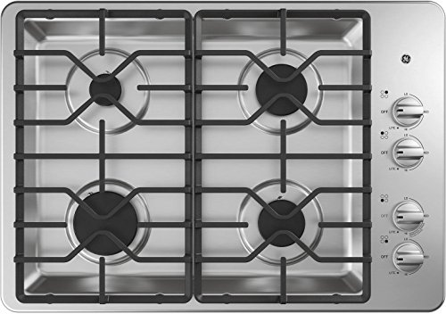 GE JGP3030SLSS 30 Inch Natural Gas Sealed Burner Style Cooktop with 4 Burners - ADA Compliant - in Stainless Steel