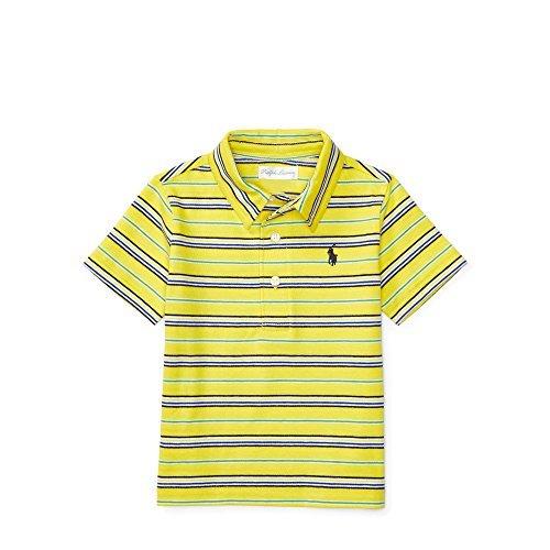 RALPH LAUREN Striped Cotton Jersey Polo (24M, Hampton Yellow) (Yellow Striped Polo)