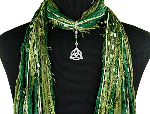 Celtic Knot Necklace Scarf ~ Olive Green Scarf ~ Triquetra Trinity Knot ~ Boho Fringe Scarf ~ Detachable Pendant Option