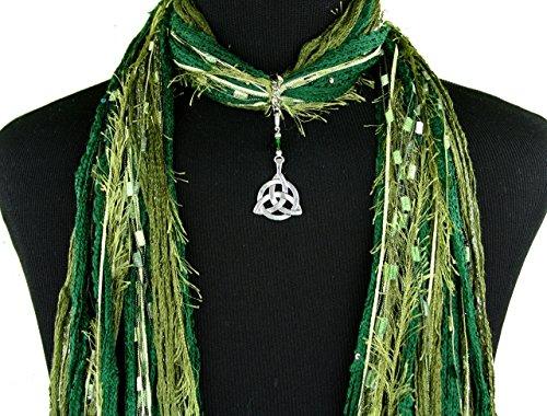 Celtic Knot Necklace Scarf ~ Olive Green Scarf ~ Triquetra Trinity Knot ~ Boho Fringe Scarf ~ Detachable Pendant Option