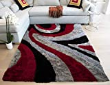 LA 8'x10' Feet Red Black Silver Grey Gray Two Tone Colors Abstract Shag Shaggy Area Rug Hand Woven Tufted 3 Dimensional Yarns Thick Pile Fluffy Fuzzy Furry Flokati Sale (Signature New 70 Red Design)