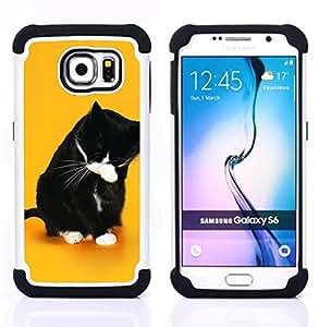 BullDog Case - FOR/Samsung Galaxy S6 G9200 / - / Funny LOL WTF Cat /- H??brido Heavy Duty caja del tel??fono protector din??mico - silicona suave