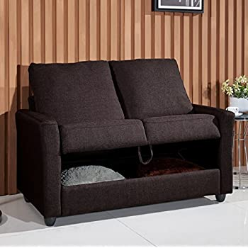 US Pride Furniture S5086 Contemporary Fabric Storage Loveseat, Coffee