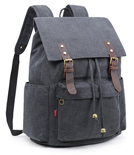 Crest Design Vintage Canvas Laptop Backpack School Bag Hiking Travel Rucksack 25L (Black) ()