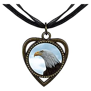 Chicforest Bronze Retro Style The Overlook Eagle Heart Shaped Pendant