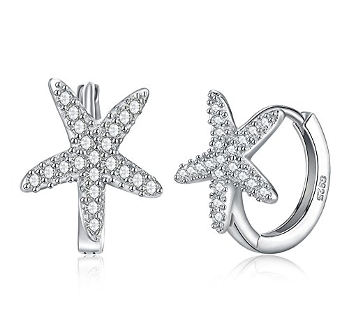 Starfish Hoop Earrings with Swarovski Crystals Jewelry for Women ()