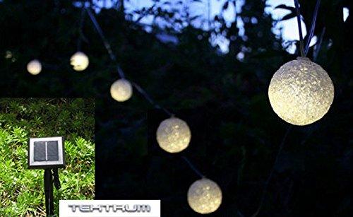 TEKTRUM 41 FEET-LONG 24 LUMINOUS GLOW SPHERE TWO-IN-ONE SOLAR STRING FAIRY LIGHTS OUTDOOR