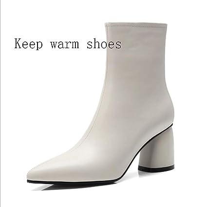 XYH Zapatos de Mujer, Zapatos de Piel de Invierno cálidos y Puntiagudos Botas de Cuero Botines de tacón Grueso Botas a Media Pierna Botas Formales Tacón ...