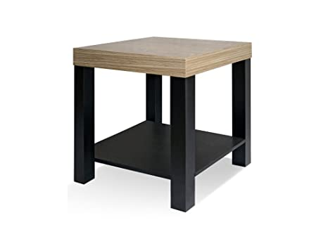 CAP LIVING Dual Tone Side End Table With Storage Shelf, Night Stand, Light  Oak