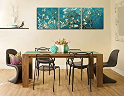Canvas Print Wall Art Painting For Home Decor Vincent Van Gogh\'S Painting Branches Of An Almond Tree In Blossom 1890--The Van Gogh Classic Arts Reproduction 3 Pieces Panel Paintings Modern Giclee Stretched And Framed Artwork The Picture For Living Room De