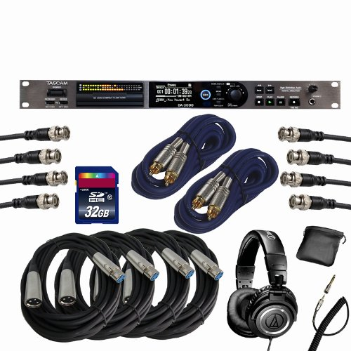 Tascam DA-3000 PCM/DSD Recorder w/ XLR, BNC, S/PDIF, ATH-M50 Headphones, 32GB SD Bundle