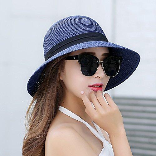 ZHANGYONG*Écran solaire parasol de plage pliable chapeau de paille chapeau de pêcheur cap bassin touristique femelle Stetson chapeau de paille , code , sont bleu marine