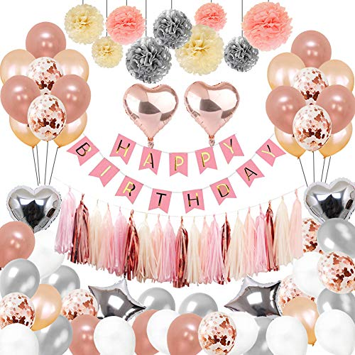 Birthday Decorations, Puchod Birthday Party Decoration Kit 100pcs Happy Birthday Confetti Balloons with Paper Pom Pom Rose Gold Silver for 13th 16th 18th 21st 30th 40th 50th 60th 70th 18th Party Supplies]()