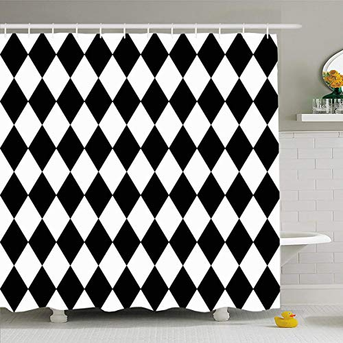 - Ahawoso Shower Curtain 66x72 Inches Graphic Shape Harlequin Argyle Pattern Made Black Abstract Diamond Lozenge White Row Line Bold Waterproof Polyester Fabric Set with Hooks