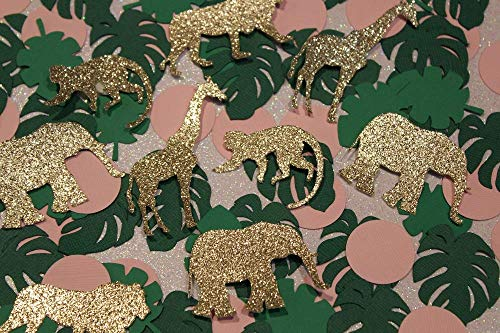 - Jungle Confetti - Gold Glitter and Pink Girl Safari Confetti - Baby Shower Table Scatter (Set of 200 Pieces)