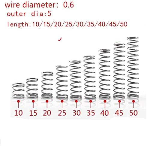 NO LOGO NJ-SPRING 20pcs 0.6mm 0.6x5mm Stainless Steel Compression Spring Wire Diameter 0.6mm Outer Diameter 5mm Length 10-50mm Size : 10mm