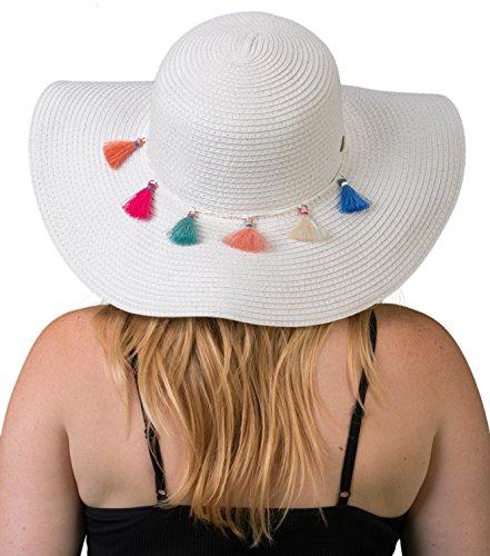 H-2019-09 Embellished Floppy Beach Foldable Packable Sun Hat - White Tassel