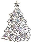 Liz Claiborne Silvertone Aurora Borealis Christmas Tree Pin