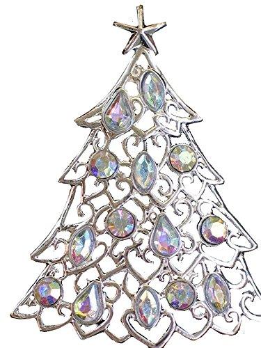 Liz Claiborne Jewelry (Liz Claiborne Silvertone Aurora Borealis Christmas Tree Pin)