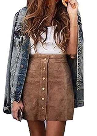 YUNY Womens Classic Faux Suede Button Closure Bodycon A Line Mini Skirt Brown US XS