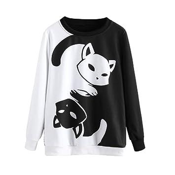 Sannysis Sudaderas Tumblr Mujer Blusas de Mujer de Moda Gatos Invierno Camisetas termicas Mujer Deporte Suelta