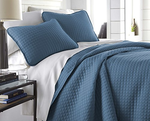 Southshore Fine Linens - Vilano Springs Oversized 2 Piece Quilt Set, Twin/Twin XL, Coronet Blue (Twin Quilt Solid)
