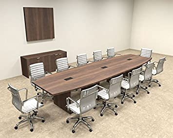 Modern Boat Shaped 14' Feet Conference Table, #OF-CON-C69