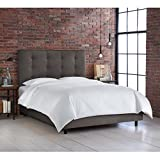 Skyline Furniture Button Tufted Bed, Full, Premier Charcoal