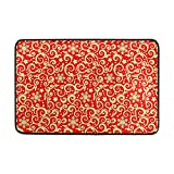 WIHVE Holiday Indoor Doormat Red and Gold Christmas Front Door Mat Non Slip Entrance Door Rug Carpet 23.6 x 15.7 Inch