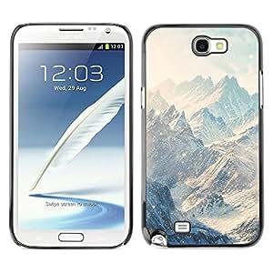 TECHCASE**Cubierta de la caja de protección la piel dura para el ** Samsung Galaxy Note 2 N7100 ** Mountains Snow Winter Clouds White